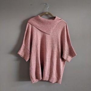 CAbi S Foldover Pullover Sweater Tumeric Fleck